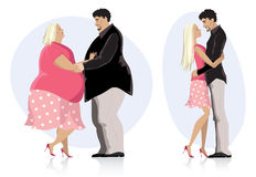 Dieting couple in love. Illustration of a dieting couple in love before and after diet Stock Photos