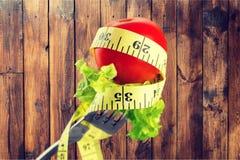 Dieting. Diet closeup vegetarian meal loose slim Royalty Free Stock Photography