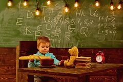 Dieting and diet. Dieting, little boy eat french baguette at table. Healthy dieting for child. Dieting does the body royalty free stock photos
