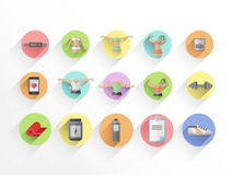 Dieting and fitness s in colourful tiles Stock Image