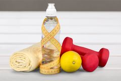 Dieting. Gym weight loss diet workout food Stock Image