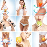 Dieting, healthy eating, fitness and sports collage. Dieting, healthy eating, fitness, sport, nutrition and health care concept royalty free stock image