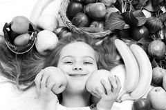 Dieting and healthy food, vegetarian and vitamin, childhood and happiness. Dieting and healthy food, natural and organic food, vegetarian and vitamin, market Royalty Free Stock Photo