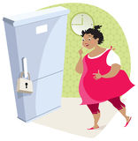 Dieting lady and fridge. Dramatic moment - lovely night meal is locked Stock Images