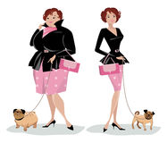 Dieting lady walking dog. Vector illustration of a lady with a pug before and after diet Royalty Free Stock Photography