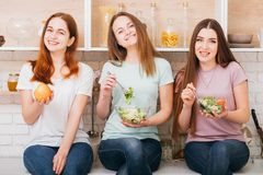 Dieting organic nutrition food fit women choice. Dieting together. Organic nutrition. Food to be fit. Choice. Smiling young women with balanced meals stock image