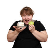 Dieting overweight woman choice stock photo