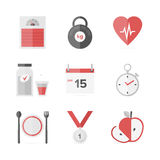 Dieting and weight loss flat icons set. Flat icons set of fitness dieting, weight loss activity, wellness and healthcare, healthy food eating. Flat design style vector illustration