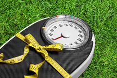 Dieting. Weight Scale Healthy Lifestyle Gift Bathroom Scale Body Conscious Tape Measure Royalty Free Stock Images