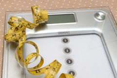 Dieting weightloss slim down concept. Closeup measuring tape on white weight scale Stock Photos