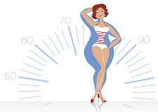 Dieting woman. Vector illustration of a slenderizing women on scale background Royalty Free Stock Photography