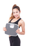 Dieting, Women with weight scale. Royalty Free Stock Photo