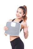 Dieting, Women with weight scale. Royalty Free Stock Images