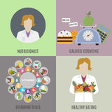Dietista e comer saudável ilustração royalty free