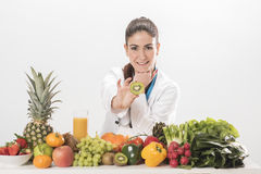 Dietitian doctor. Isolated on white Royalty Free Stock Image