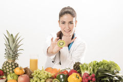 Dietitian doctor. Isolated on white Royalty Free Stock Images