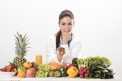 Dietitian doctor. Isolated on white Stock Image