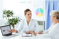 Dietitian telling about BMI. Dietitian telling a patient about BMI using a laptop on desk in the office Royalty Free Stock Image