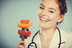 Dietitian with vegetables. Healthy diet nutrition. Stock Image