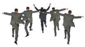 Dietro il collage di salto della squadra di affari fotografie stock