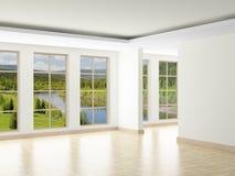 dietro la finestra vuota della stanza di paesaggio Fotografie Stock Libere da Diritti
