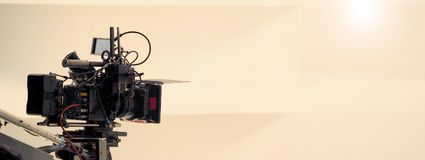 Dietro le scene di video produzione della fucilazione fotografia stock