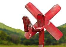 Dietro un vecchio mulino a vento di legno Immagine Stock Libera da Diritti