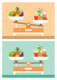 Diets comparison Royalty Free Stock Image