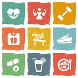 Diety i sprawności fizycznej tematu ikony ustawiać Zdjęcie Royalty Free