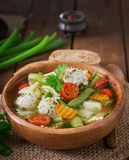 Diety jarzynowa polewka z kurczaków klopsikami i świeżymi ziele Fotografia Royalty Free