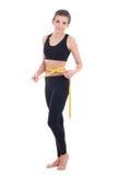 Diety pojęcie - piękna szczupła sporty kobieta z miarą taśmy iso Fotografia Royalty Free