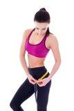 Diety pojęcie - piękna szczupła sporty kobieta z miarą taśmy iso Obraz Royalty Free