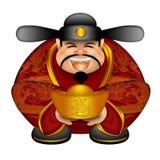 Dieu chinois d'argent souhaitant le bonheur et la richesse Photo libre de droits