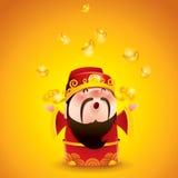 Dieu chinois de la richesse Lingots d'or en baisse Photographie stock libre de droits
