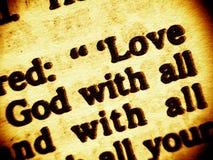 Dieu d'amour - le commandement le plus élevé Photographie stock