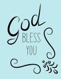 Dieu d'inscription vous bénissent avec des flourishes Photos libres de droits