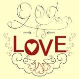 Dieu de bible de lettrage est amour avec des coeurs Images stock