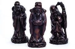 Dieu de la fortune (Fu, Hok), de la prospérité (Lu, Lok), et de la longévité Photographie stock libre de droits