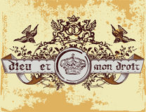 Dieu et mon droit. Vintage old t shirt design Royalty Free Stock Photos