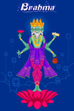 Dieu indien Brahma sur le lotus Photographie stock libre de droits