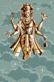 Dieu indien Brahma sur le lotus Photos stock