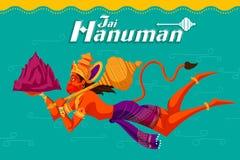 Dieu indien Hanuman avec la montagne Image stock