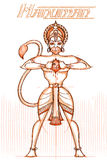 Dieu indien Hanuman dans le regard peu précis Photo libre de droits