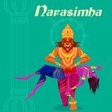 Dieu indien Narasimha tuant Hiranyakashipu Photographie stock