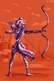 Dieu indien Rama avec le tir à l'arc Photo stock