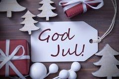 Dieu juillet d'arbre de cadeau de label veut dire le Joyeux Noël Image stock