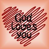 Dieu vous aime, fait au coeur rouge images libres de droits