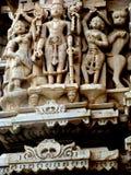 Dieux découpés dans la pierre, Udaipur, Rajastan Photos stock