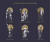 Dieux et héros d'Olimpian illustration stock
