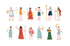 Dieux grecs olympiens ensemble, Apollo, Hera, Dionysus, Zeus, Demetra, Hermes, Clio, Artemis, Aphrodite, Poseidon, antique illustration de vecteur